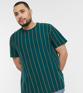 New Look PLUS vertical stripe t-shirt in teal