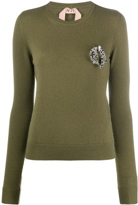 No.21 Crystal-Brooch Cashmere Jumper