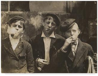 """Hine """"Newsies at Skeeter's Branch 1910"""" by Lewis Wickes Hine, Canvas Art"""