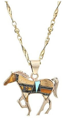 Vanessa Mooney Cowgirl Necklace with Lapis and Turquoise (Gold) Necklace