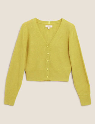 Marks and Spencer Ribbed V-Neck Cropped Cardigan with Wool