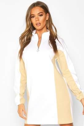 boohoo Zip High Neck Colour Block Panel Sweatshirt Dress