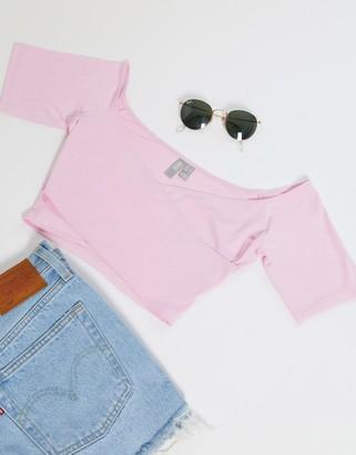 ASOS DESIGN wrap off shoulder crop top in pink