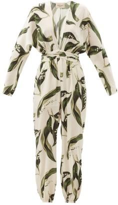 Adriana Degreas Floral-print Plunge-neck Silk Jumpsuit - Cream Print