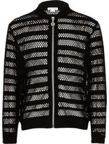 River Island Girls Black mesh bomber jacket