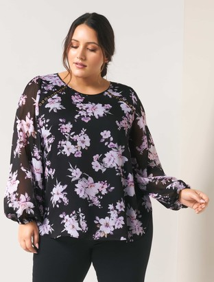 Forever New Tania Curve Eyelet Blouse - Midnight Bloom - 16
