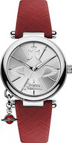 Vivienne Westwood Women's Orb Pop Quartz Analogue Display Watch with Silver Dial and Red Leather Strap VV006SSRD