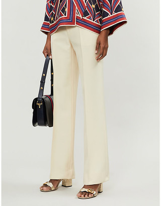 Gucci Silk and wool-mix wide-leg trousers
