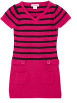 Pink Angel Fuchsia & Black Stripe Tab-Waist Dress - Girls