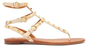 Valentino Rockstud Raffia And Leather Gladiator Sandals - Womens - Beige