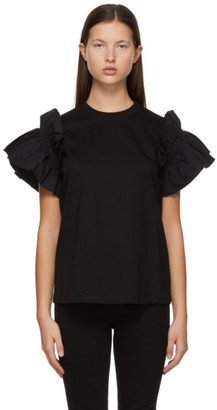 Victoria Victoria Beckham Black Ruffle Sleeve T-Shirt