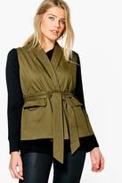 boohoo Plus Jane Sleeveless Tie Waist Utility Jacket