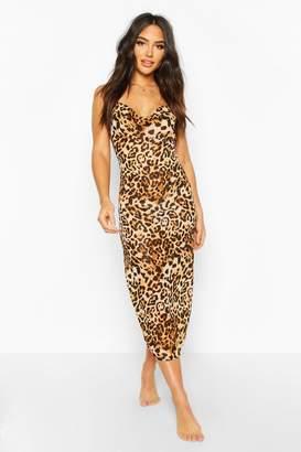 boohoo Leopard Print Cowl Neck Maxi Beach Dress