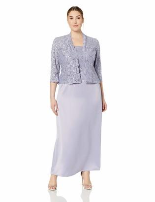Alex Evenings Women's Plus Size Sleeveless Dress and Matching Jacket Two-Piece Set