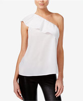 Bar III Cotton One-Shoulder Flounce Top, Only at Macy's