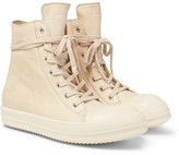 Rick Owens Cap-toe Leather High-top Sneakers - Cream