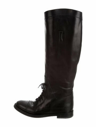Gucci Boulanger Equestrian Leather Riding Boots Black