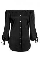 Quiz Black Crepe Bardot Button Front Top