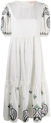 Tory Burch Paisley Embroidery Tiered Dress