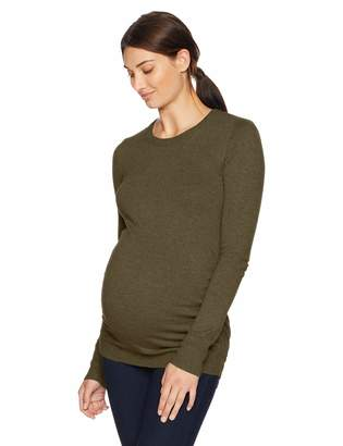 Motherhood Maternity Women's Maternity Long Sleeve Crew Neck Side Ruched Sweater