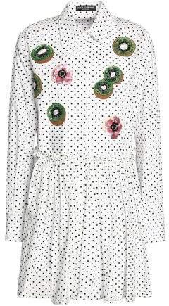 Dolce & Gabbana Embellished Polka-Dot Cotton-Poplin Mini Shirt Dress