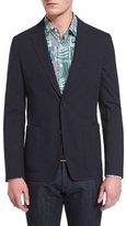 Salvatore Ferragamo Textured Two-Button Cotton Jacket, Navy