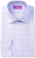 Lorenzo Uomo Twill Check Trim Fit Dress Shirt