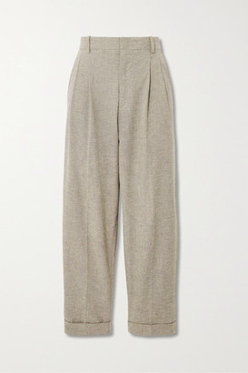 Etoile Isabel Marant Lowea Checked Cotton And Linen-blend Tapered Pants - Pastel yellow
