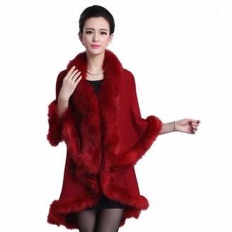 BEUHOME Women Double Layer Cape Coat Ladies Faux Fox Fur Knitwear Cloak Shawl Wrap Bridal Winter Sweater Poncho Open Front Elegant Long Cardigans Wine