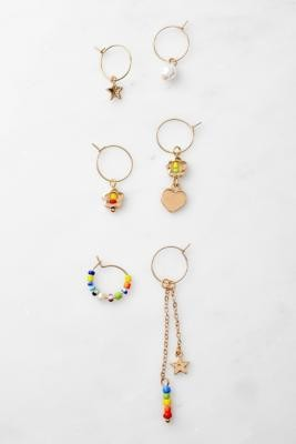 Urban Outfitters Gold-Tone Bead Hoop Earrings 6-Pack - Gold ALL at