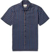 Oliver Spencer Hawaiian Striped Cotton-jacquard Shirt - Indigo