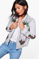 boohoo Grace Studded Embroidered Faux Leather Biker grey