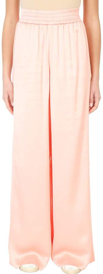 Golden Goose Sophie Pink Satin-trimmed Stretch Crepe Flared Pants