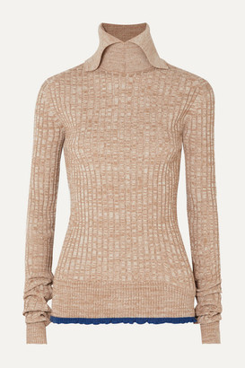 Jil Sander Ruffled Ribbed Melange Wool Sweater - Beige