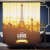 Wanranhome Custom-made shower curtain Paris Decor Eiffel Tower with Tulip and City Silhouette Nostalgic Town Floral Romantic Scene Orange Yellow Brown For Bathroom Decoration