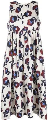 Odeeh Empire Line Floral-Print Midi Dress