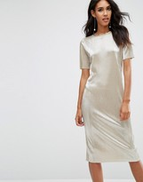 Asos Gold Plisse T-Shirt Midi Dress
