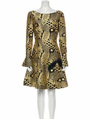 Valentino Printed Mini Dress Gold
