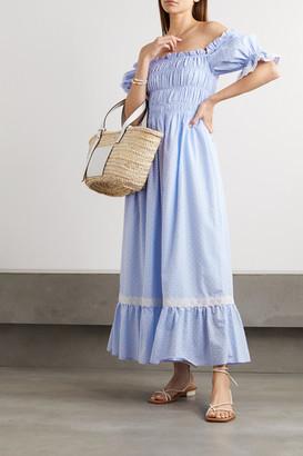 Lug Von Siga - Elisa Off-the-shoulder Crochet-trimmed Swiss-dot Cotton Midi Dress - Light blue