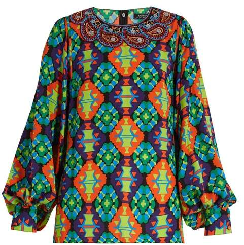 Andrew Gn Geometric Print Silk Blend Crepe Blouse - Womens - Green Multi