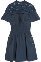Self-Portrait Hudson Guipure Lace-paneled Cotton-poplin Mini Dress - Midnight blue