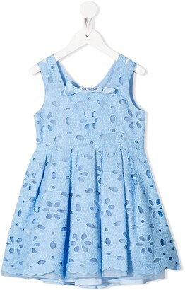 Mi Mi Sol Sleeveless Floral-Eyelet Dress