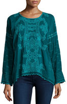 Johnny Was Alona Long-Sleeve Embroidered Georgette Top, Plus Size