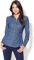 New York & Co. 7th Avenue Design Studio - Madison Stretch Shirt - Chambray - Medium Blue