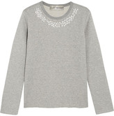 Comme des Garcons + Jupe By Jackie Faux Pearl-embellished Cotton-terry Sweatshirt - Gray