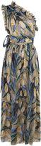 Rochas Multi Tulip Plissé One Shoulder Dress