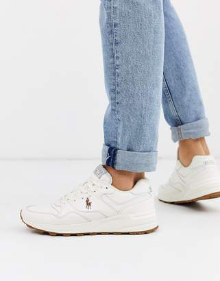 Polo Ralph Lauren trackster leather trainer in white with player logo
