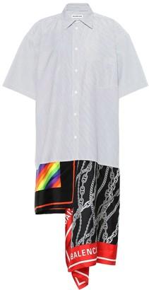 Balenciaga Scarf cotton and silk shirt dress