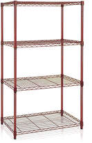 Furinno Burgundy Four-Tier Wire Shelving Unit
