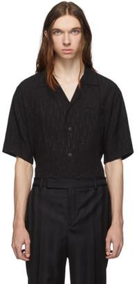 Saint Laurent Black V-Neck Shooting Star Short Sleeve Shirt